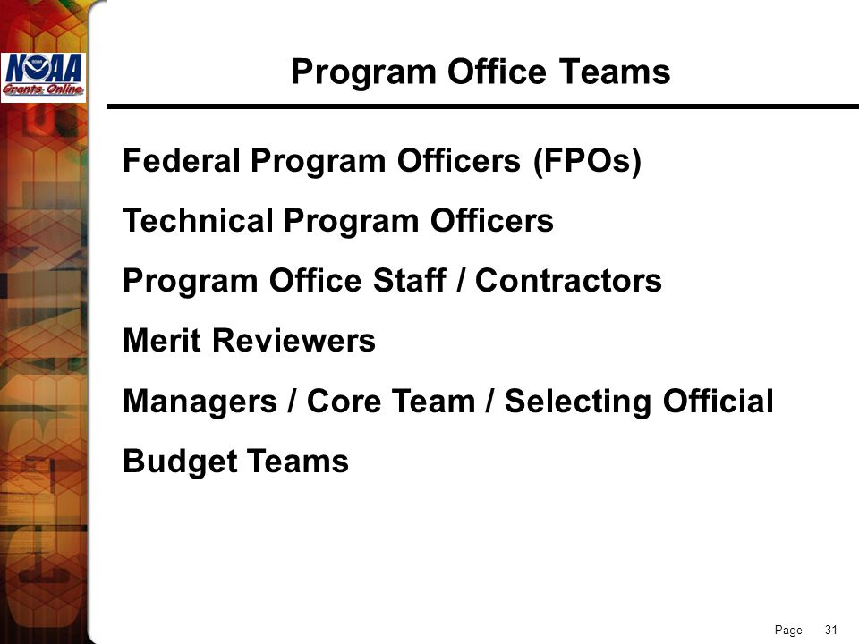 Program Office Teams Federal Program Officers (FPOs)