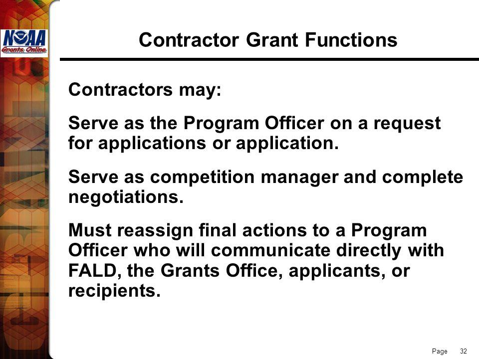 Contractor Grant Functions