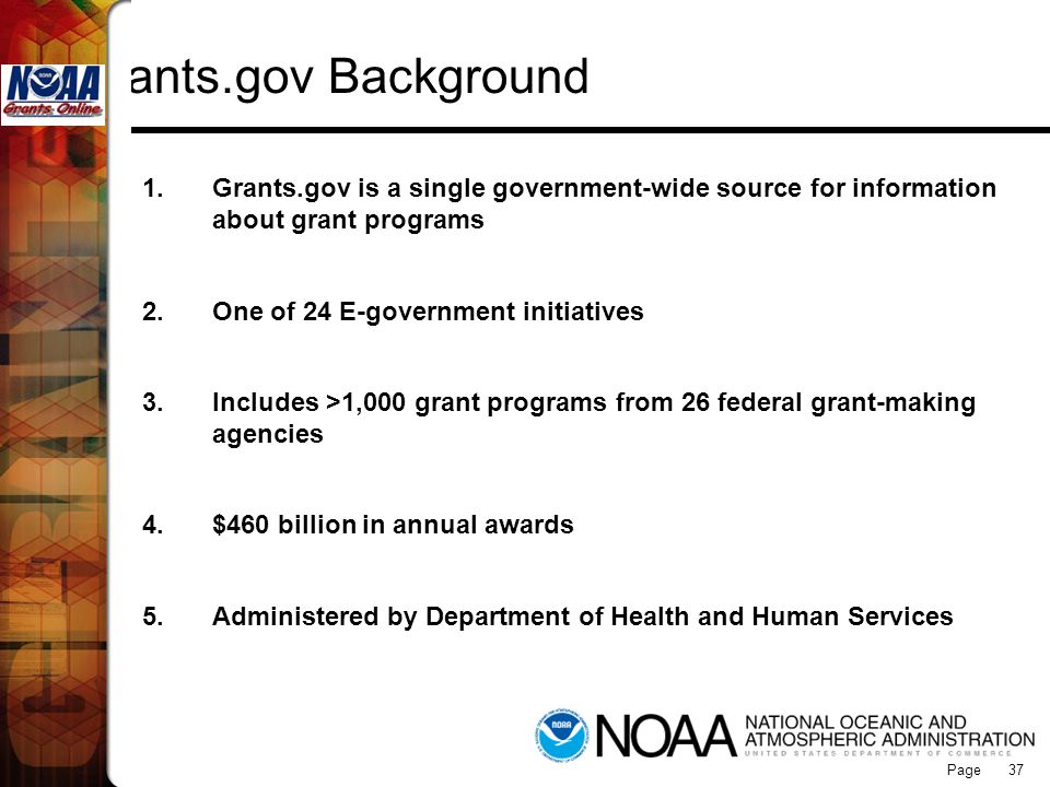 Grants Online Grants.gov Background