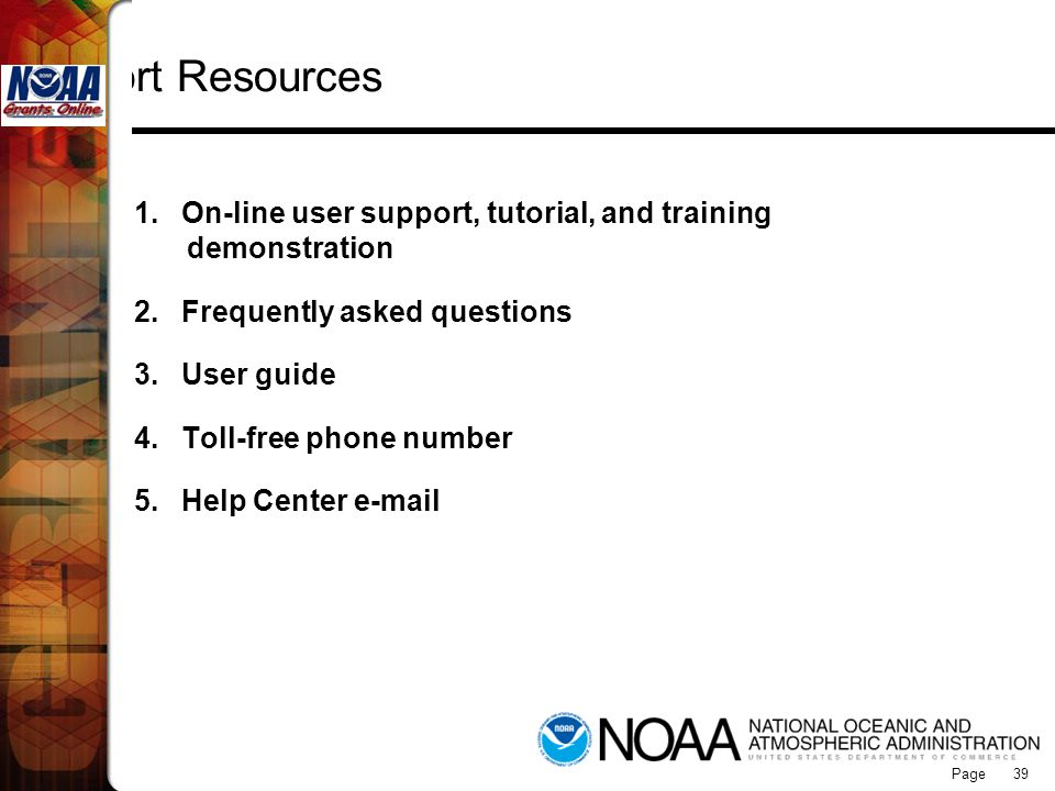 Grants Online Support Resources