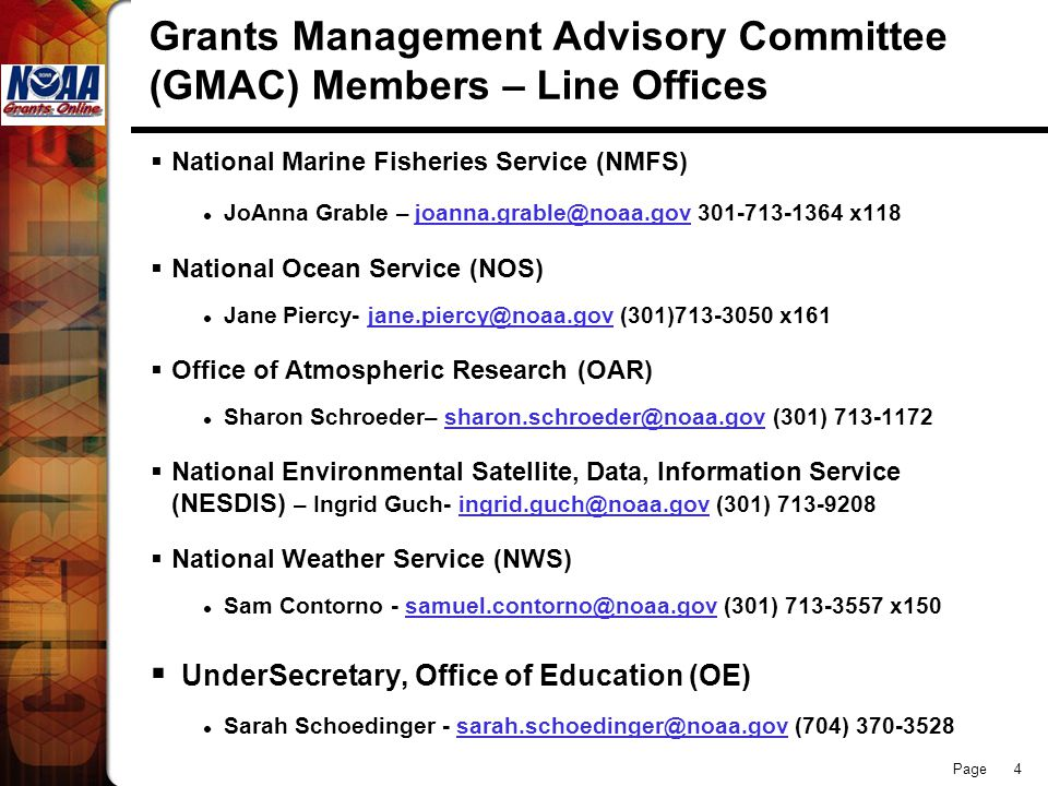 Grants Management Advisory Committee (GMAC) Members – Line Offices