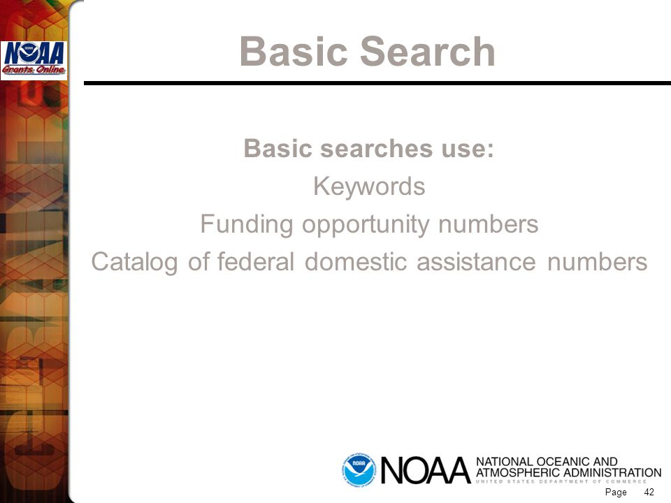 Basic Search Grants Online Basic searches use: Keywords