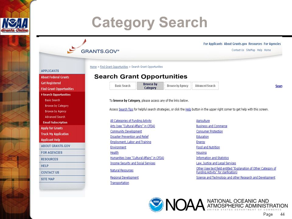 Grants Online Category Search 44