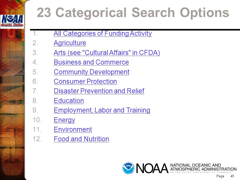 23 Categorical Search Options