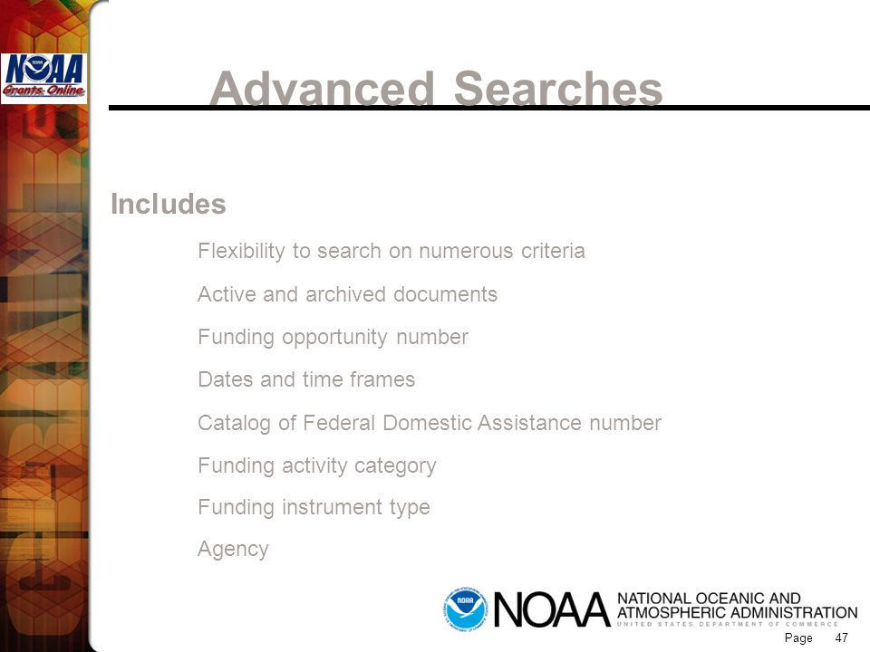 Advanced Searches Grants Online Includes