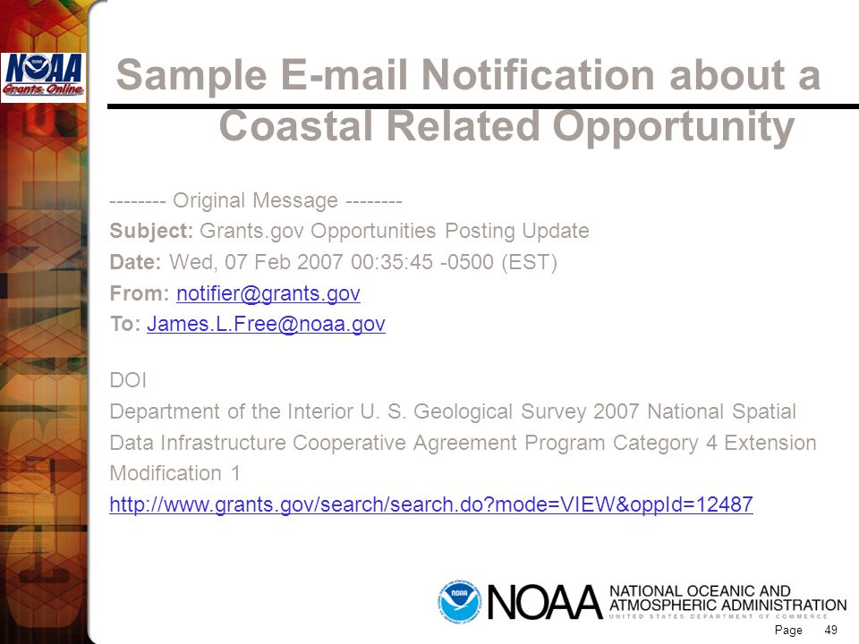 Sample E-mail Notification about a Coastal Related Opportunity