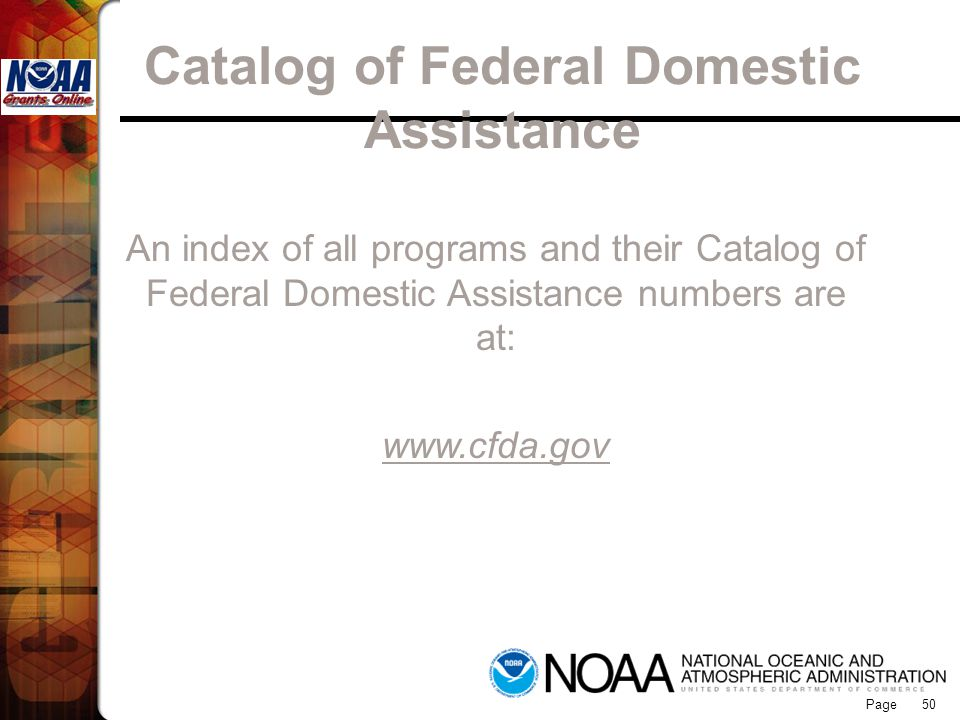 Catalog of Federal Domestic Assistance