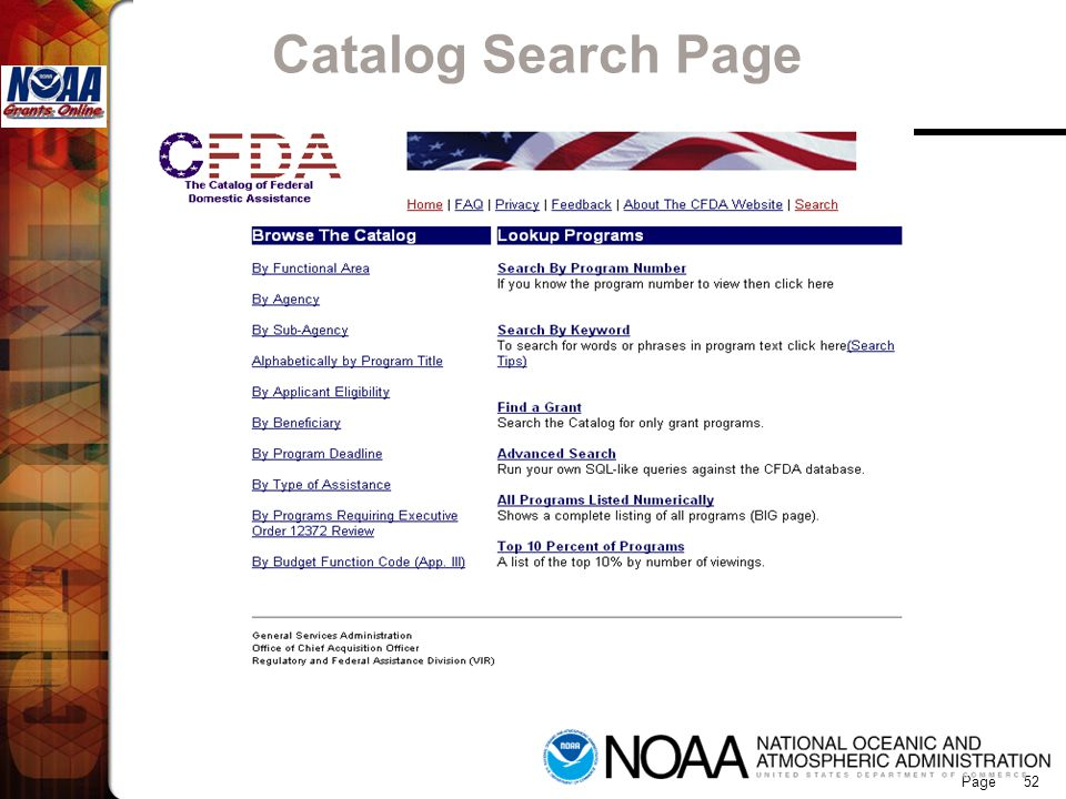 Grants Online Catalog Search Page 52