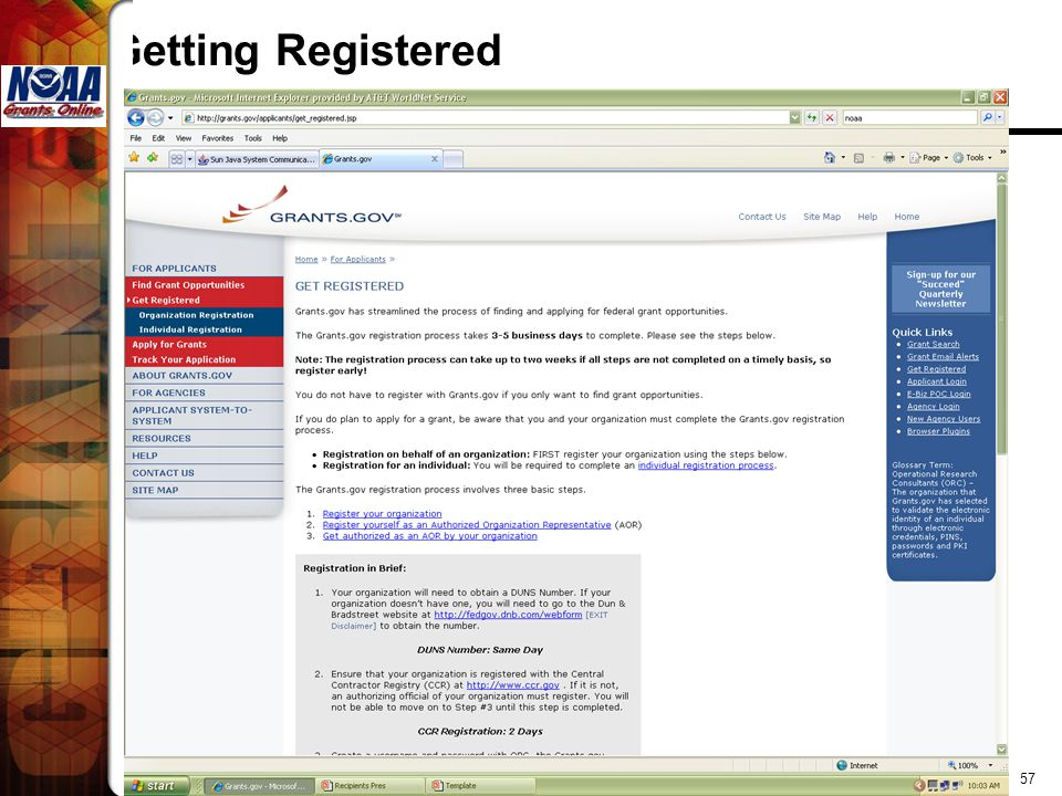 Getting Registered Grants Online
