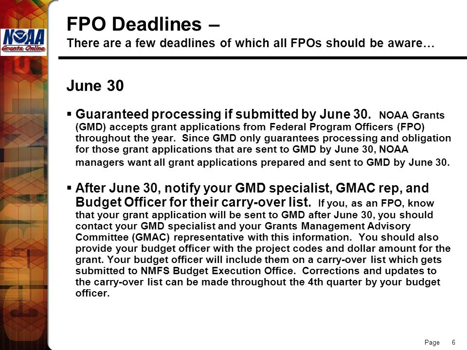 FPO Deadlines – There are a few deadlines of which all FPOs should be aware…