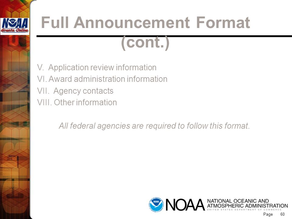 Full Announcement Format (cont.)