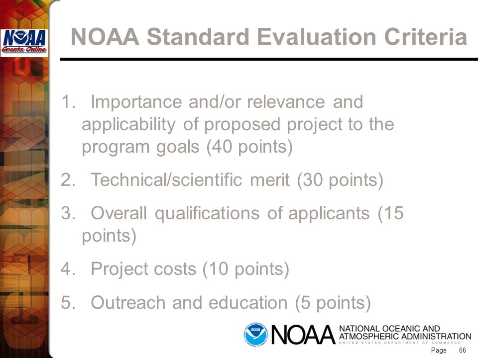 NOAA Standard Evaluation Criteria