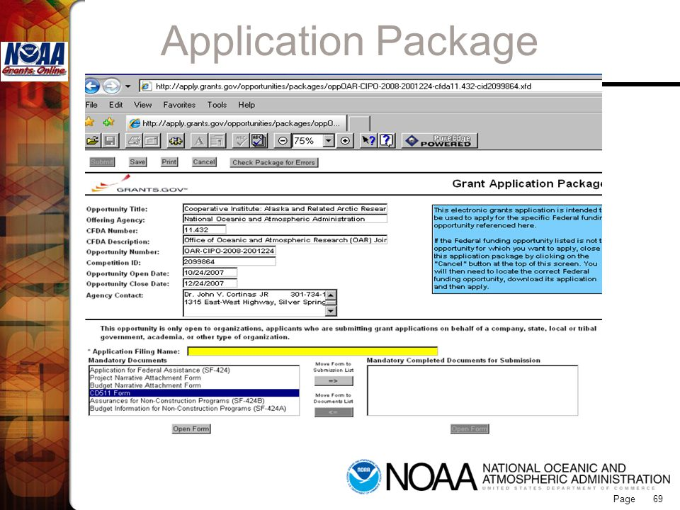Application Package Grants Online 69