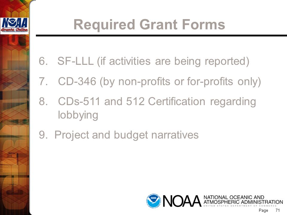 Required Grant Forms Grants Online
