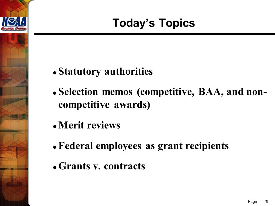 Today's Topics Statutory authorities