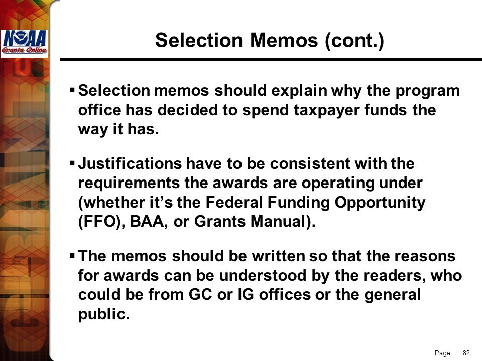 Selection Memos (cont.)