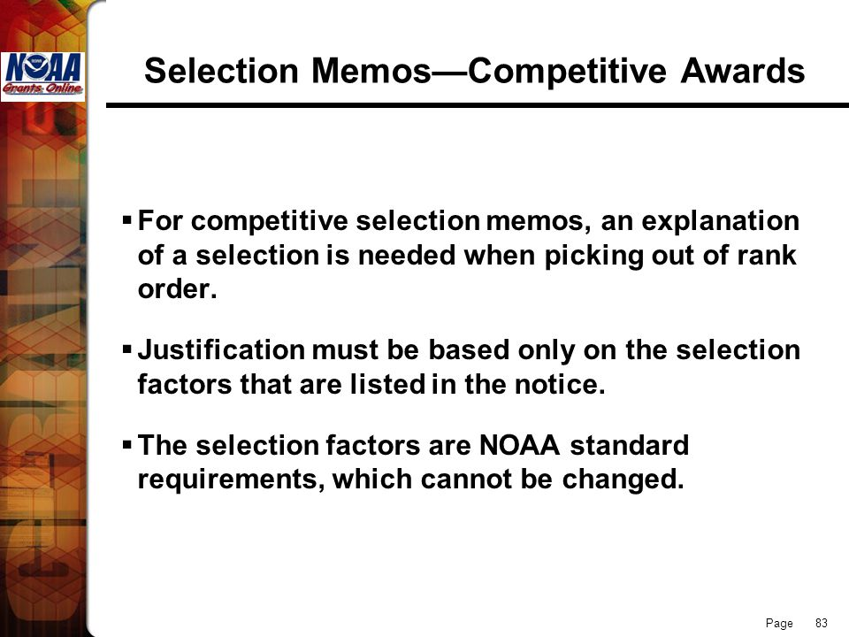 Selection Memos—Competitive Awards