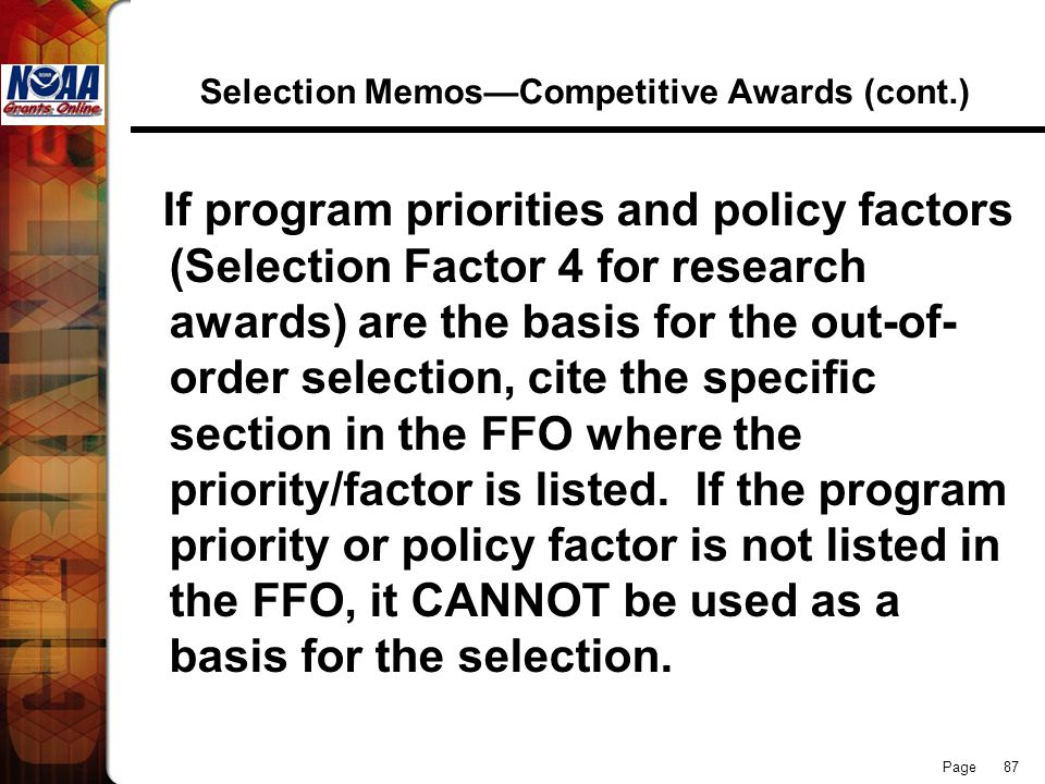 Selection Memos—Competitive Awards (cont.)
