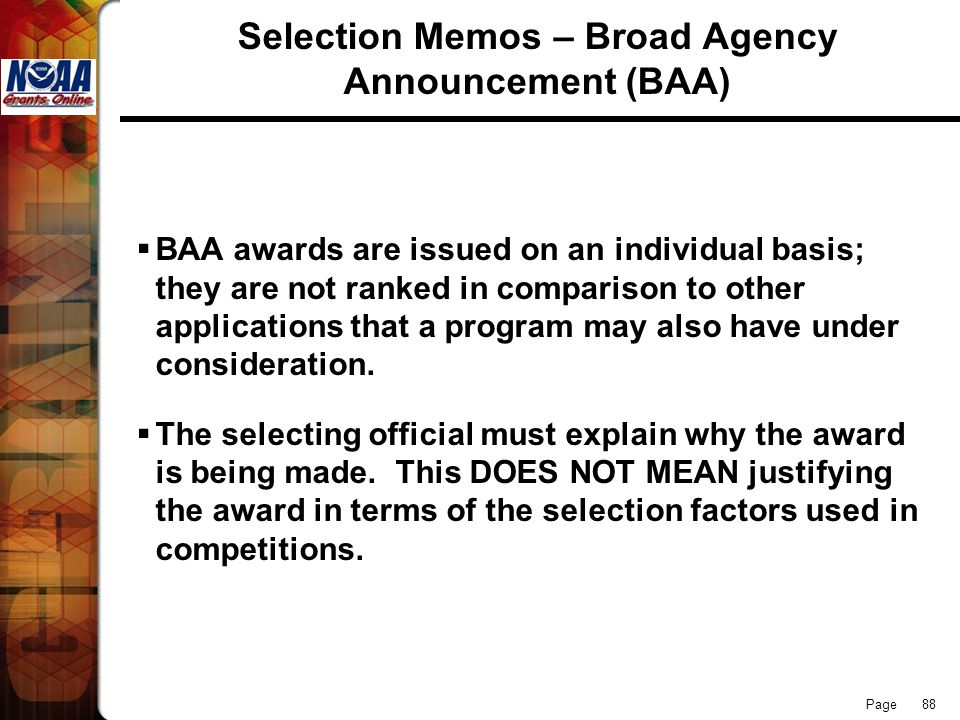 Selection Memos – Broad Agency Announcement (BAA)