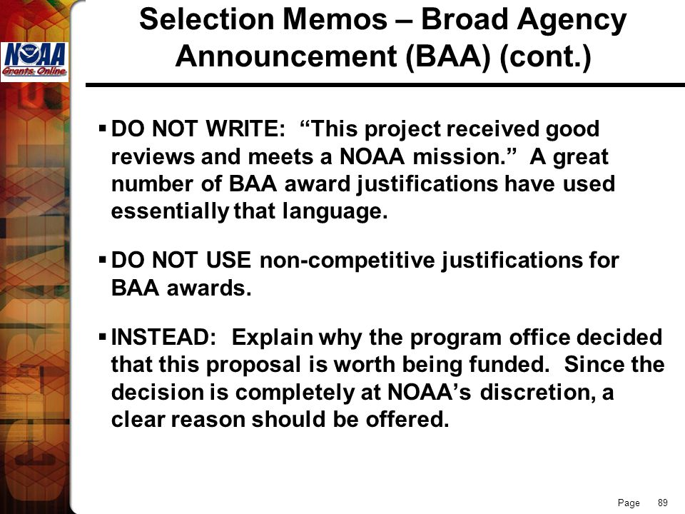 Selection Memos – Broad Agency Announcement (BAA) (cont.)