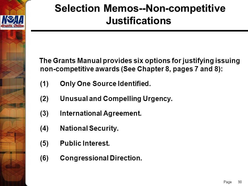 Selection Memos--Non-competitive Justifications