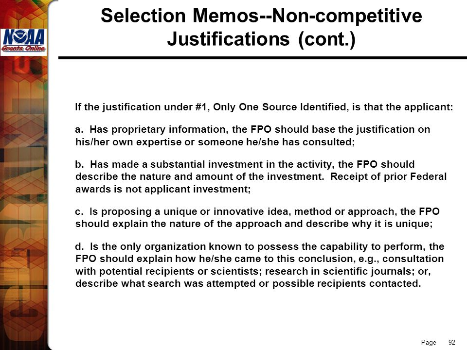 Selection Memos--Non-competitive Justifications (cont.)