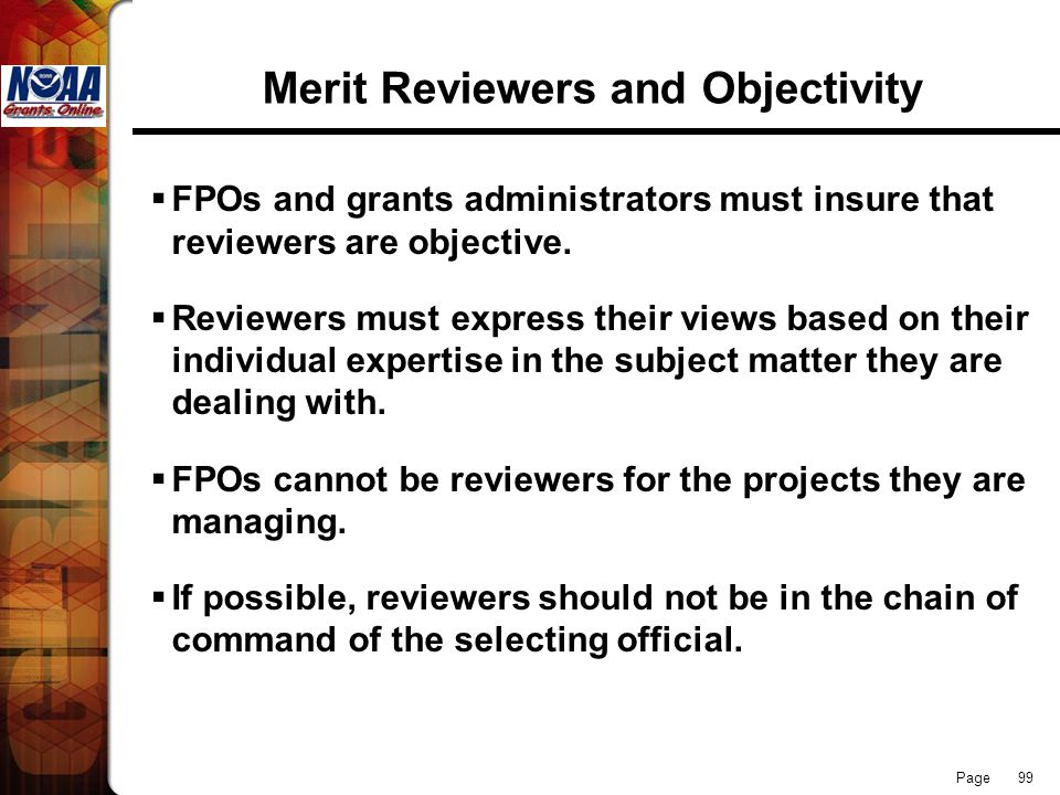 Merit Reviewers and Objectivity
