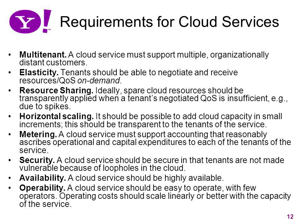 Requirements for Cloud Services