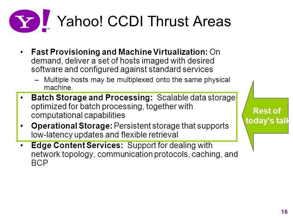 Yahoo! CCDI Thrust Areas