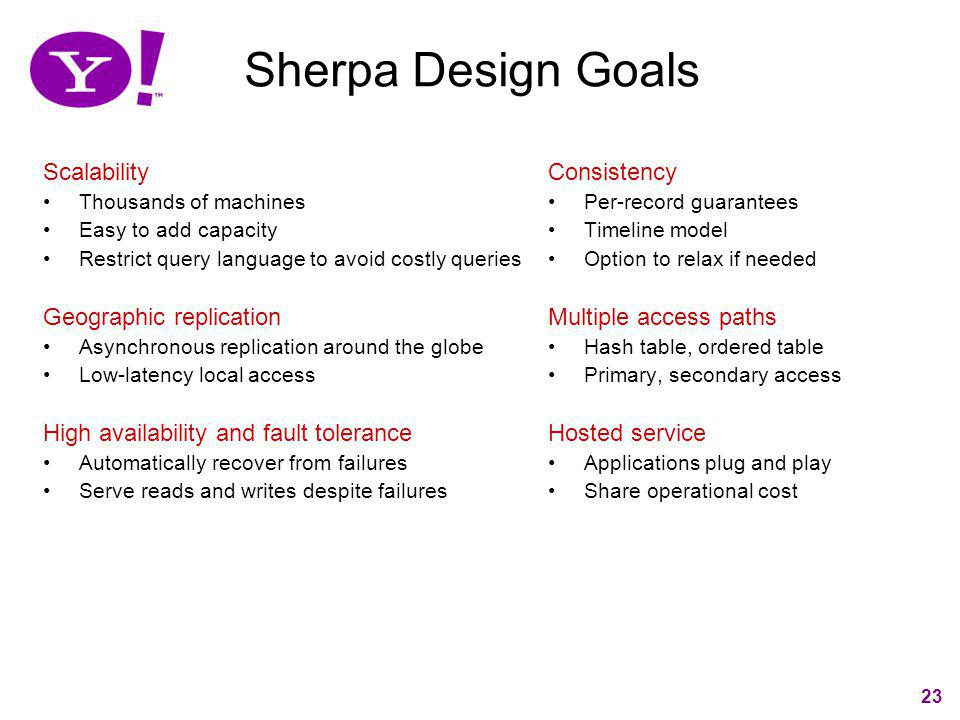 Sherpa Design Goals Scalability Geographic replication