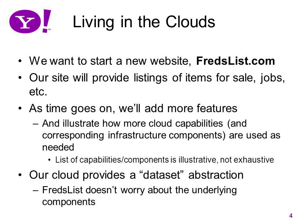 Living in the Clouds We want to start a new website, FredsList.com