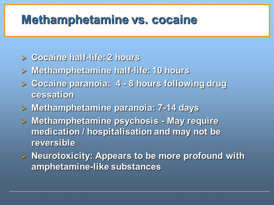 Methamphetamine vs. cocaine