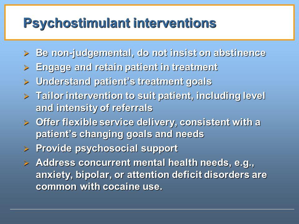 Psychostimulant interventions