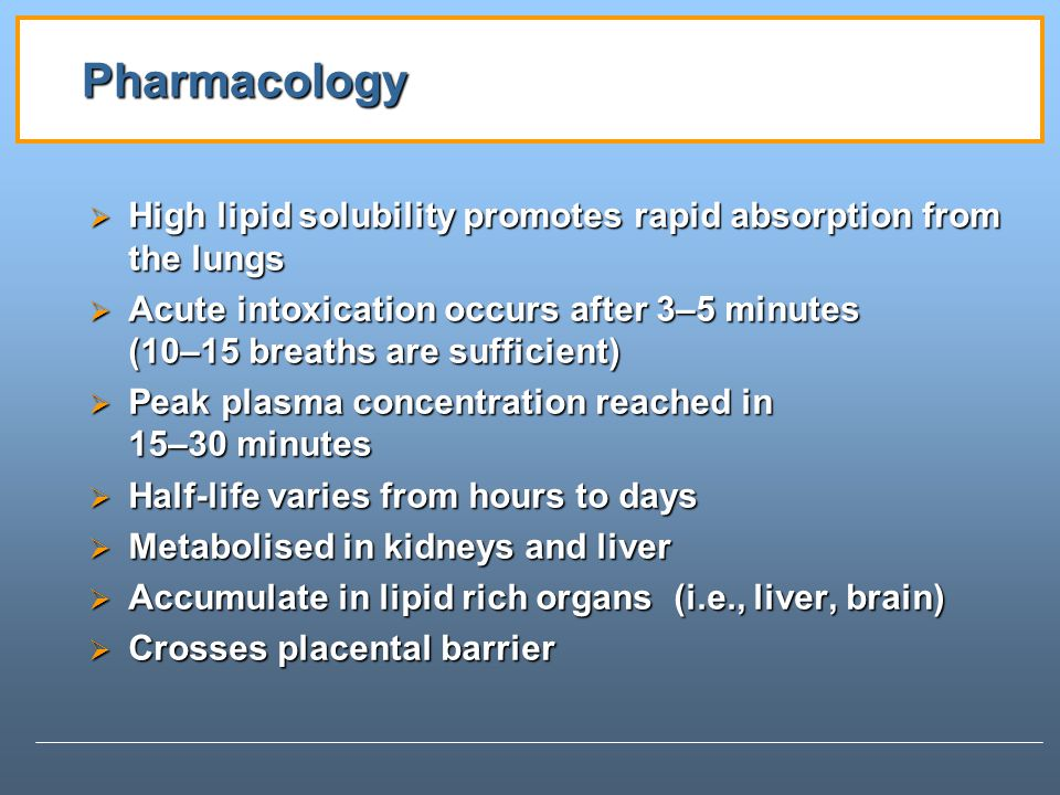 Pharmacology High lipid solubility promotes rapid absorption from the lungs.