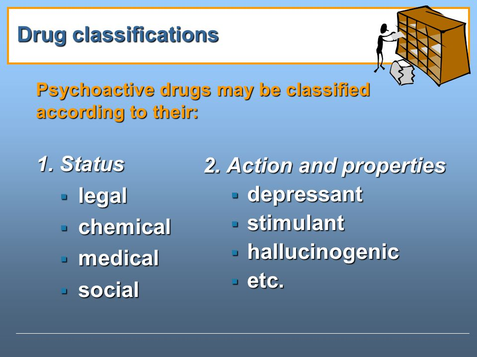 Psychoactive drugs may be classified according to their: