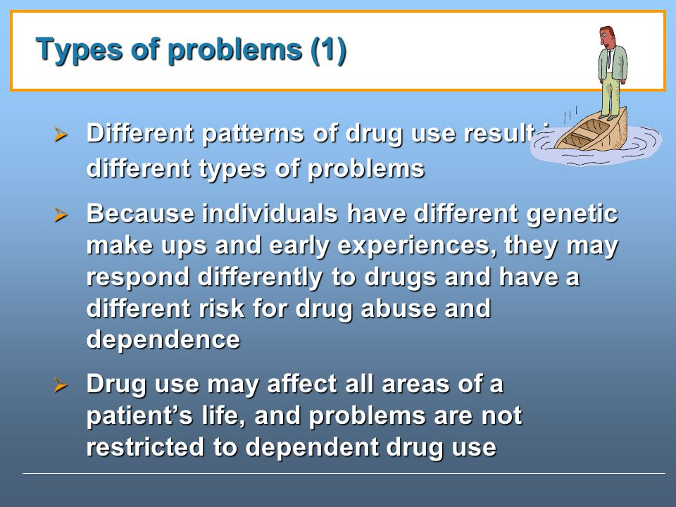 Types of problems (1) Different patterns of drug use result in different types of problems.