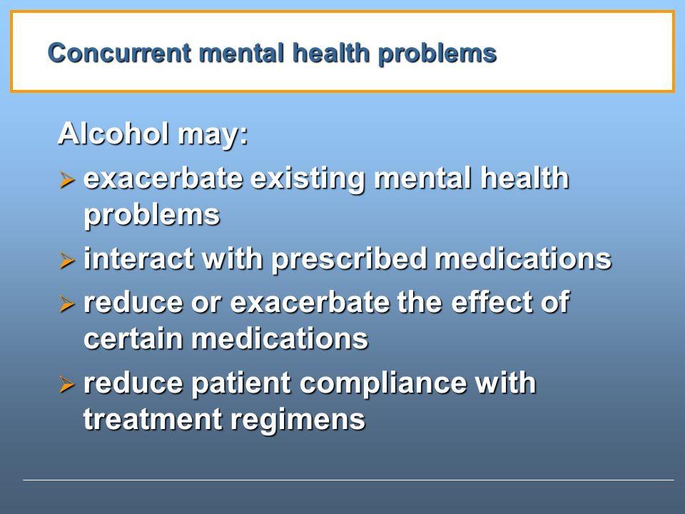 Concurrent mental health problems