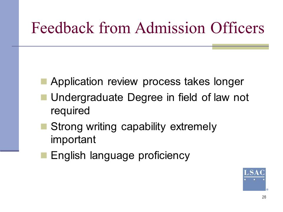 Feedback from Admission Officers