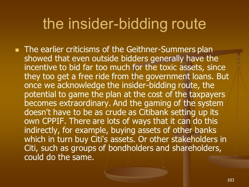 the insider-bidding route