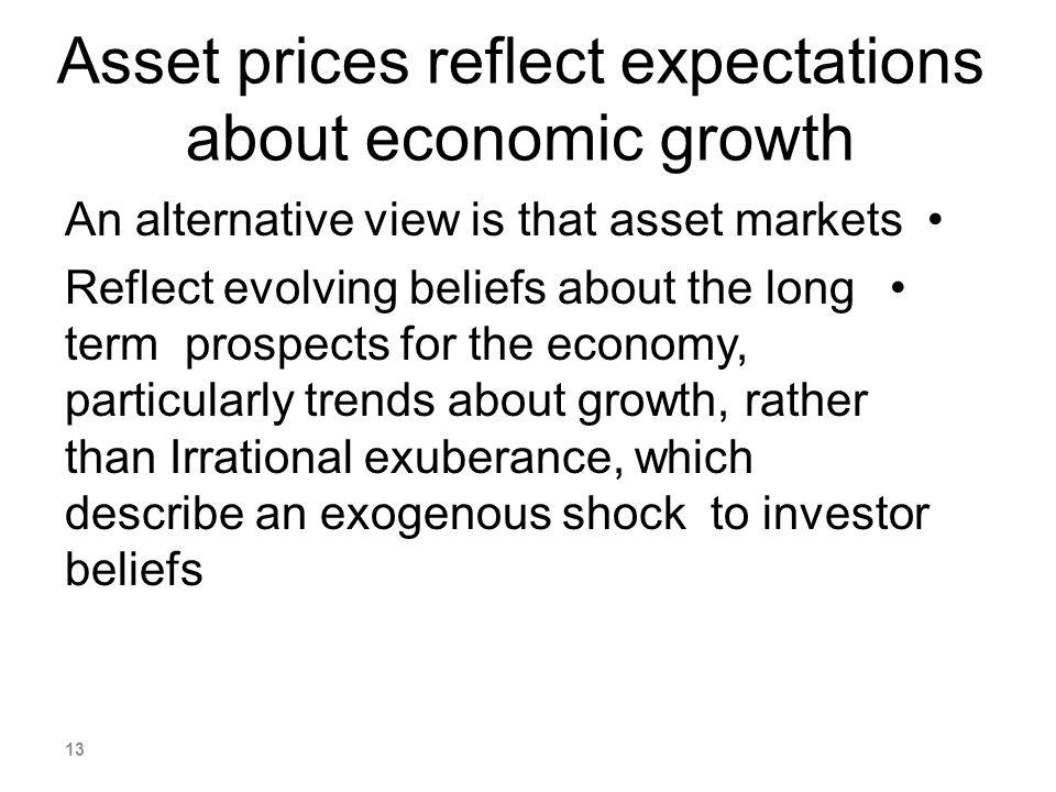 Asset prices reflect expectations about economic growth