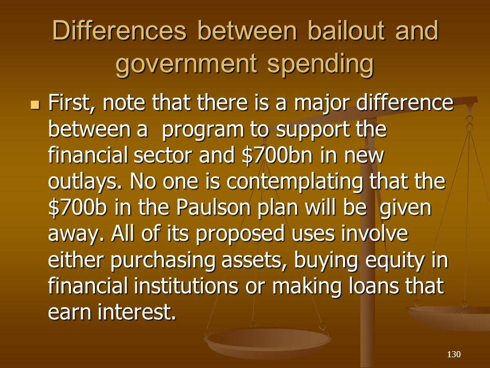 Differences between bailout and government spending