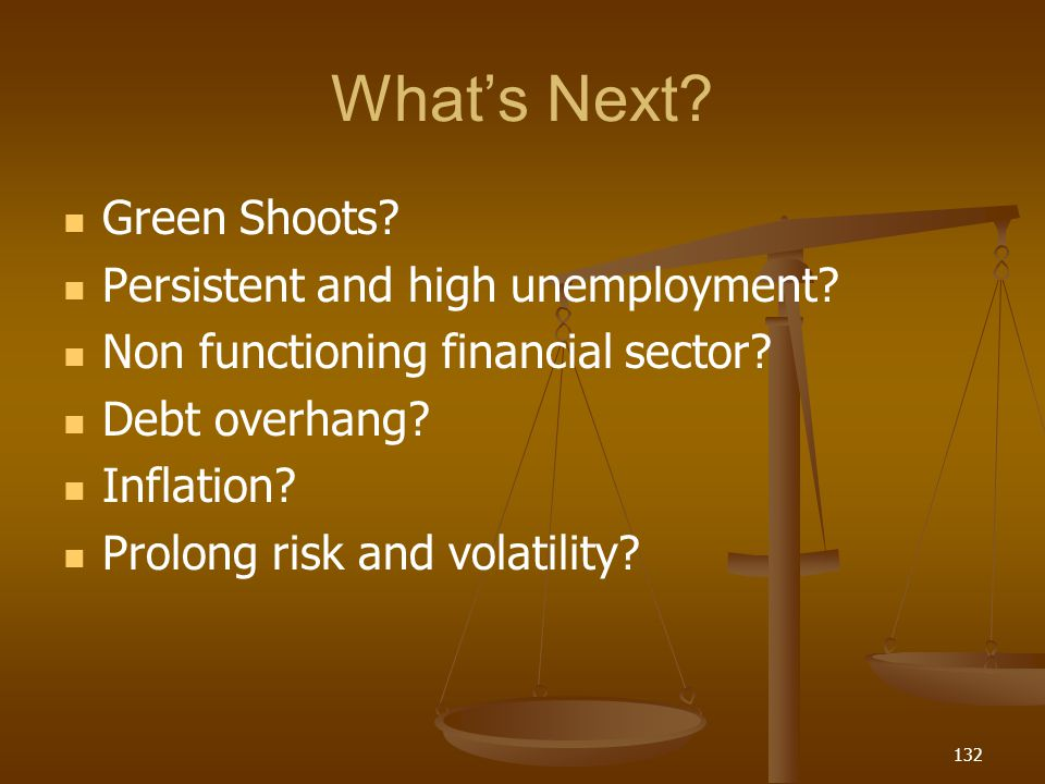 What's Next Green Shoots Persistent and high unemployment