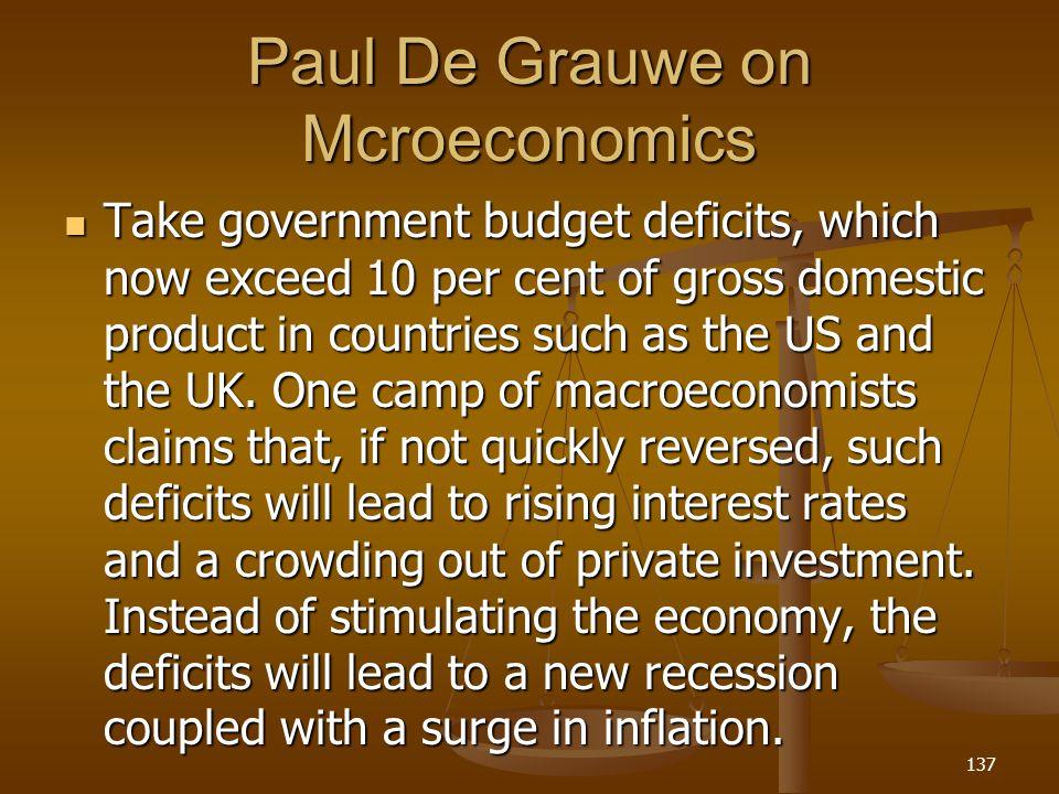 Paul De Grauwe on Mcroeconomics