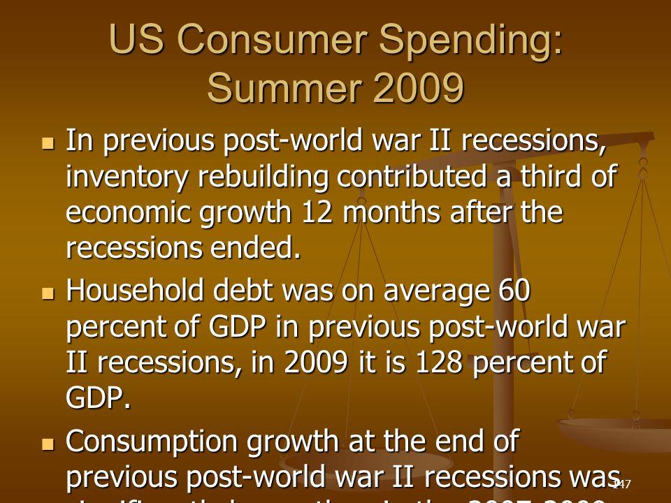 US Consumer Spending: Summer 2009