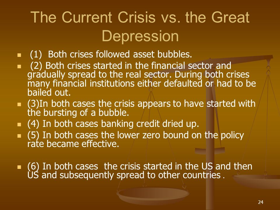 The Current Crisis vs. the Great Depression