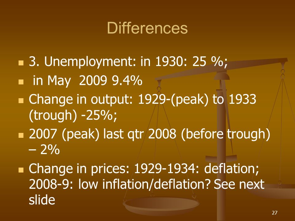 Differences 3. Unemployment: in 1930: 25 %; in May 2009 9.4%