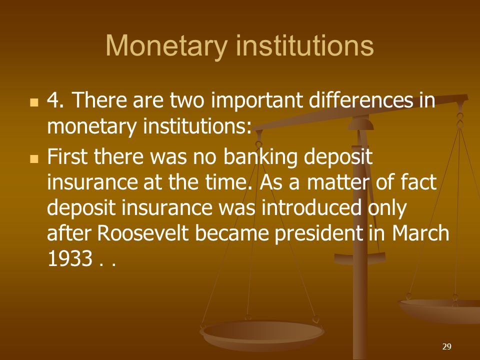 Monetary institutions