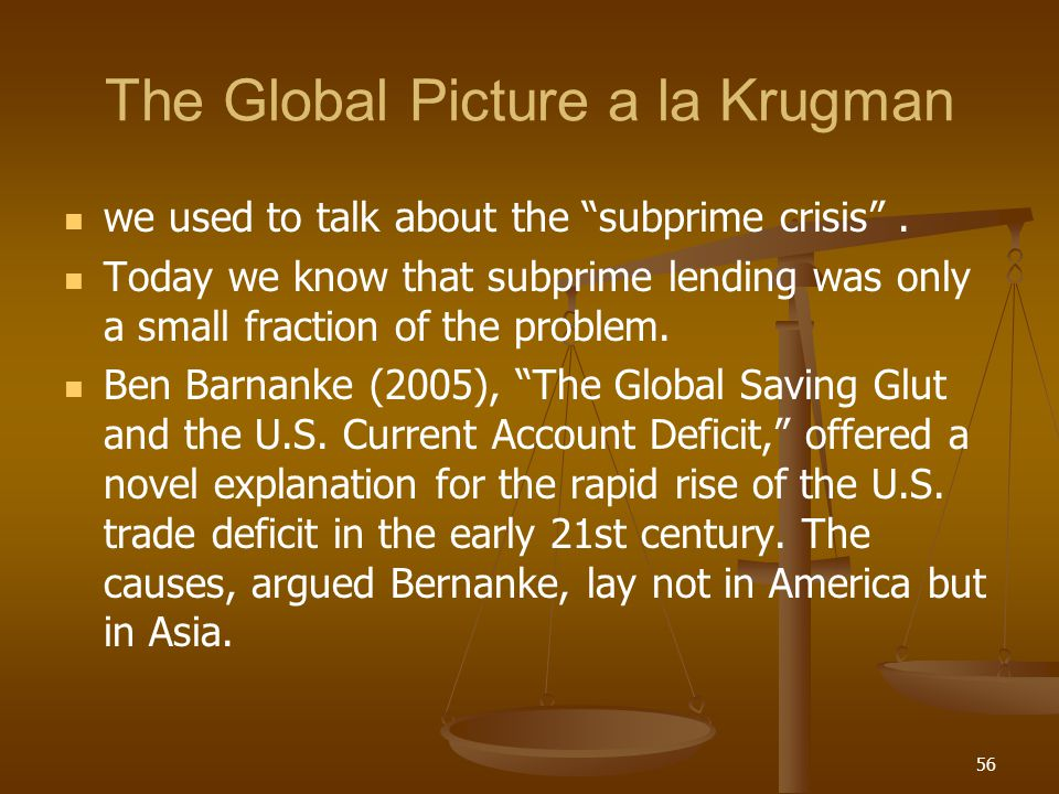 The Global Picture a la Krugman