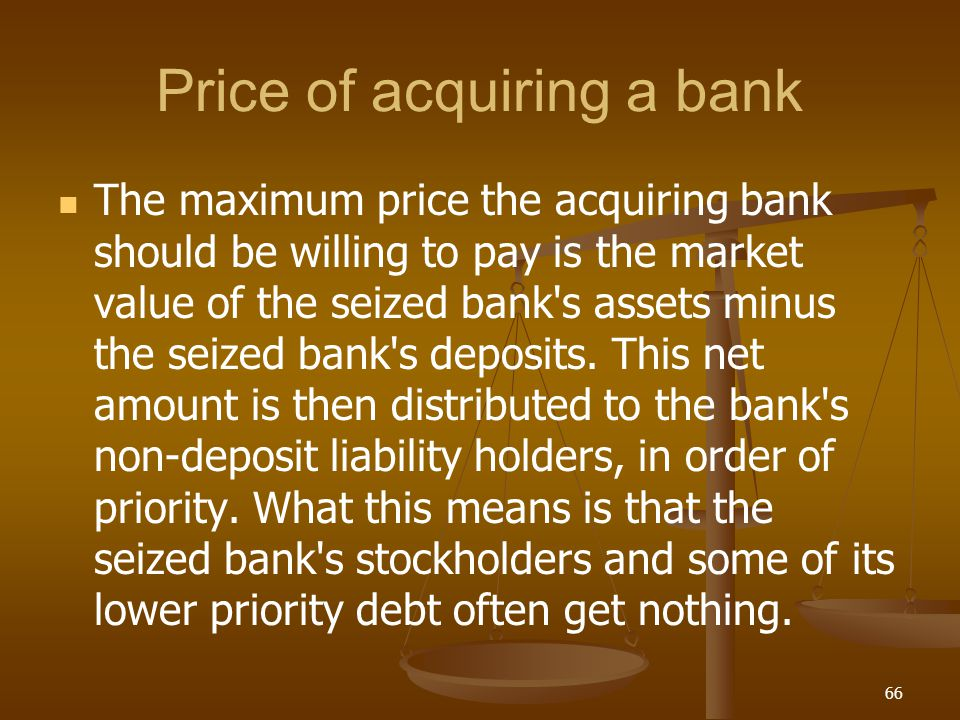 Price of acquiring a bank