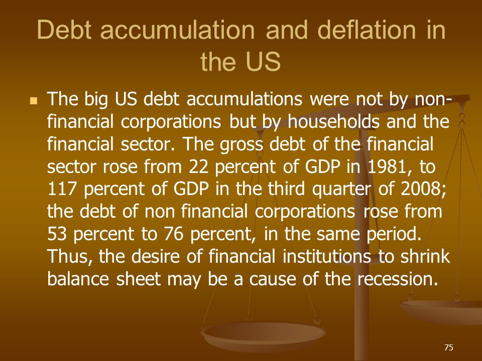 Debt accumulation and deflation in the US